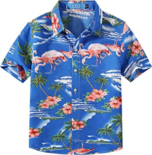 SSLR Big Boy's Pink Flamingos Button Down Casual Short Sleeve Hawaiian Shirt