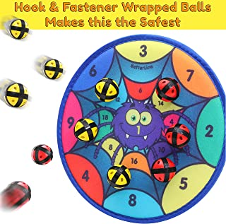 Fun Spider Dart Board Game with 6 Balls Using Hook-and-Loop Fasteners | Learn Numbers and Colors as You Play | Interactive Game and Safe for Kids