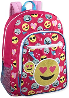 Girls Full Size 17 Inch Pink Emoji Backpack With Water Bottle Holder, Bonus Keychain and Glitter Applique (Pink)