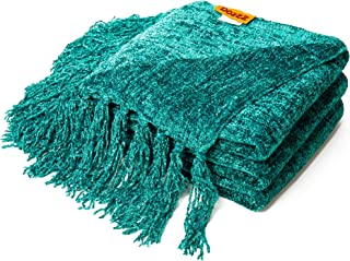 DOZZZ Fluffy Chenille Knitted Throw Blanket with Decorative Fringe for Home Décor Bed Sofa Couch Chair Teal