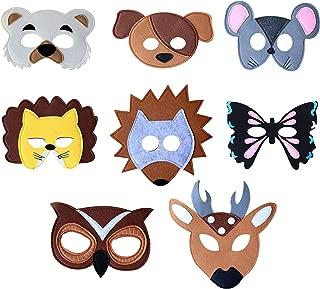 Felt Animal Masks for Pretend Play Dress up Parties - Set of 8