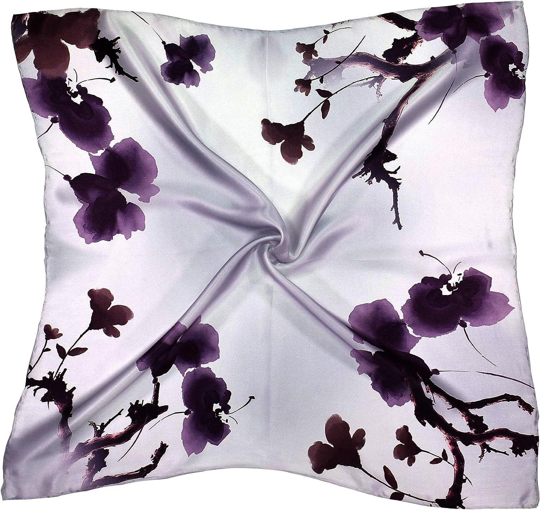 Purple purplec Flowers Thick Silk Square Scarf