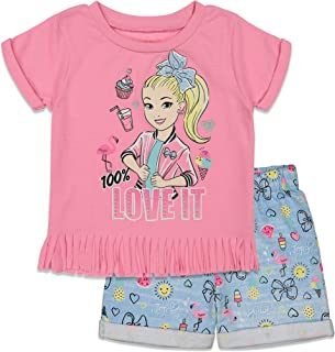JoJo Siwa Girls Fashion Fringe T-Shirt and French Terry Shorts Set