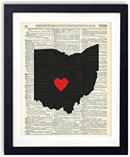 Ohio Capital With Heart Upcycled Vintage Dictionary Art Print 8x10