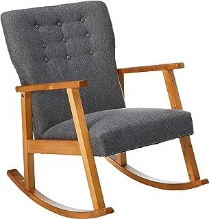 Christopher Knight Home Hank Mid Century Modern Fabric Rocking Chair, Grey, Light Walnut