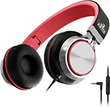 Artix CL750 Foldable Headphones with Microphone and Volume Control, On-Ear Stereo Earphones, Headset for Cellphones Tablets Smartphones Laptop Computer for Adults, Teens, Kids (Red/Gray)
