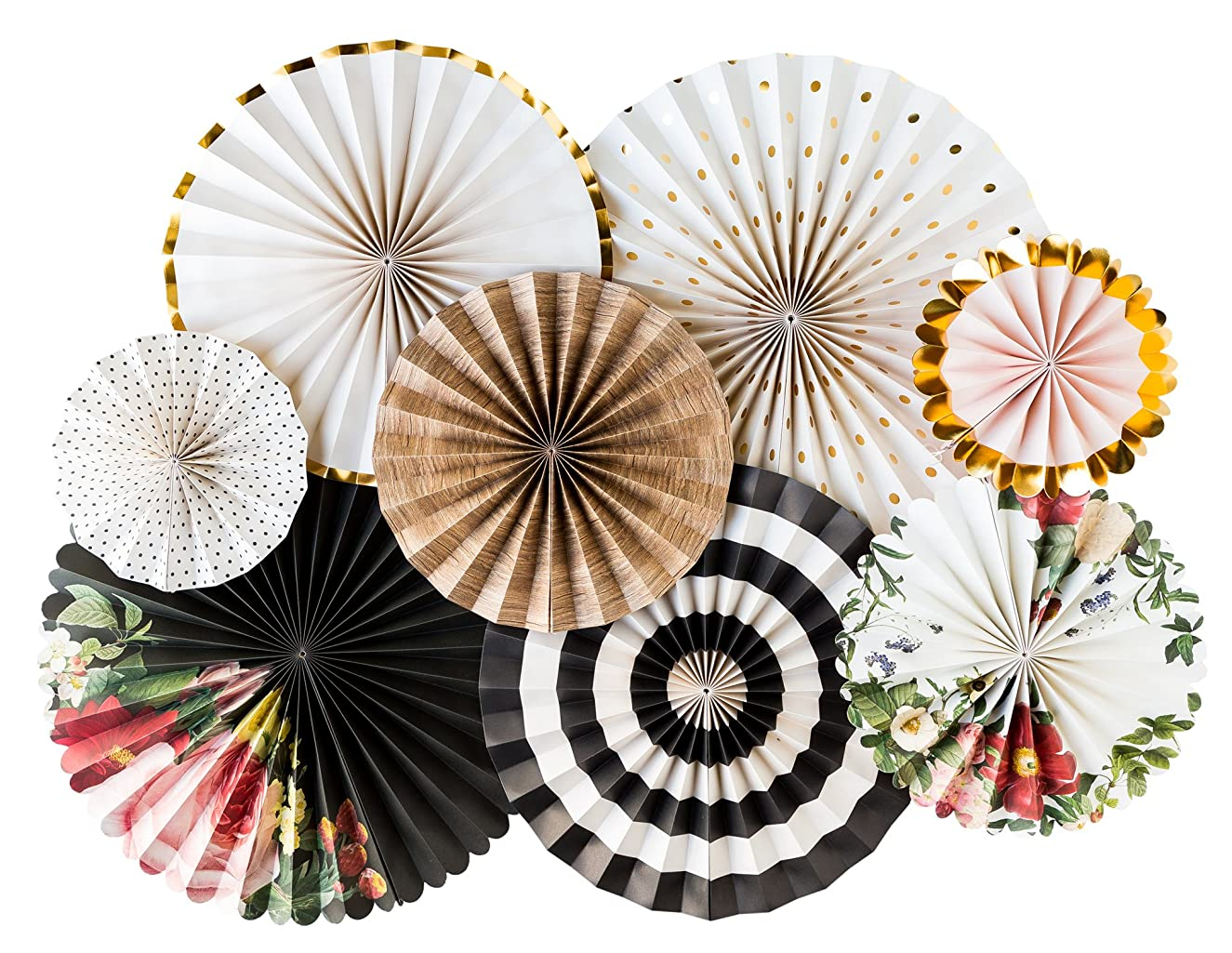 My Mind's Eye - Botanical Double Sided Party Fans - Set of 8 Fans