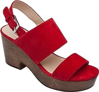 Pic & Pay - Imelda - Women's Slingback Wood Platform Leather Suede Sandal Comfortable Clog