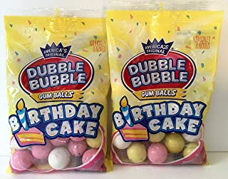 Dubble Bubble Birthday Cake Gum Balls 4 Oz Bag (2 Pack - 8 Ounces Total)