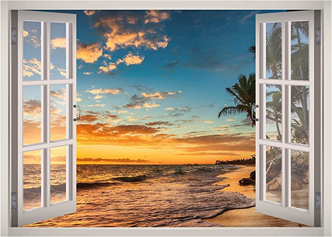 Hawaiian sunset in paradise photo window wall sticker wall mural 14711407ww