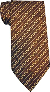 Brioni Brown Chain Links Striped Tie