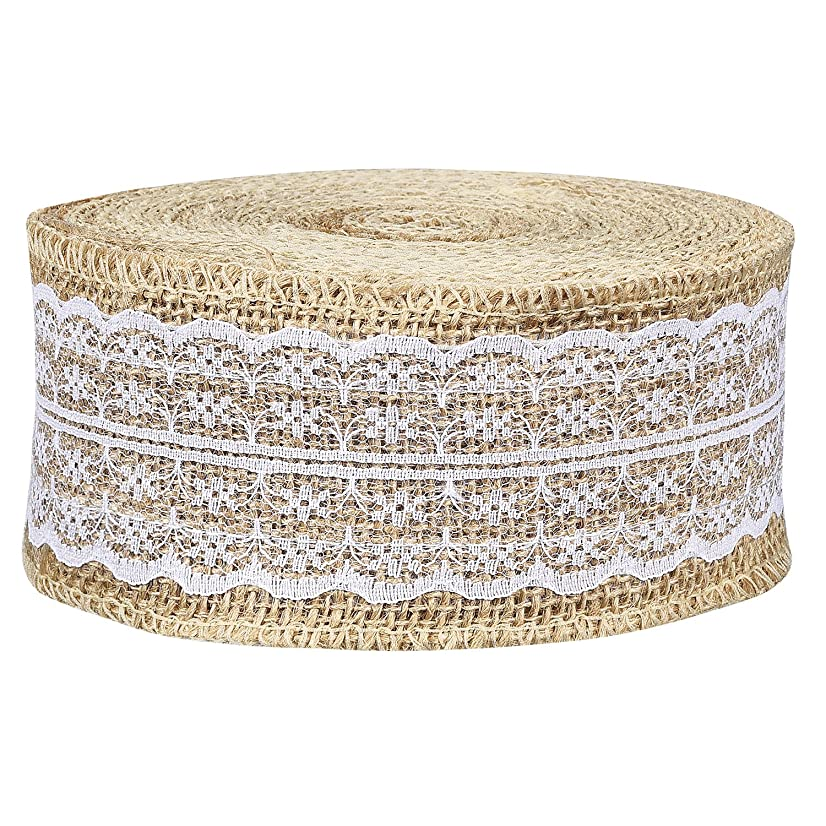 Shappy 433 Inch Natural Burlap Ribbon Roll Burlap Fabric White Lace Trims Tape Burlap Border for Wedding Decoration DIY Craft