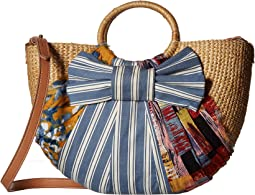 Sam Edelman Jaelynn Straw Basket w/ Wrapped Fabric Detail