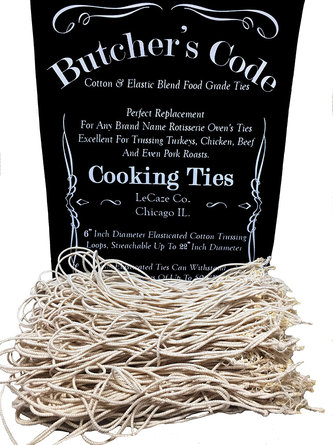 Amazon Com Rotisserie Elastic And Cotton Blend Stretchy Twine Food Grade Heat Safe Cooking Ties Poultry Loops 50 Pack Kitchen Dining