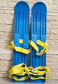 INT Kids Skis Plastic Mini Snow Skis with Sturdy Straps for Downhill or Cross Country Skiing (40cm) Bindings
