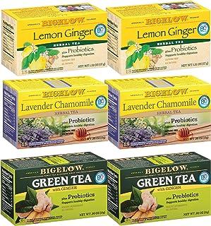 Bigelow Probiotic 3 Flavor Variety Pack Tea Bags, Caffeinated Green Tea and Caffeine Free Herbal Tea, 18 Count Box, (Pack ...