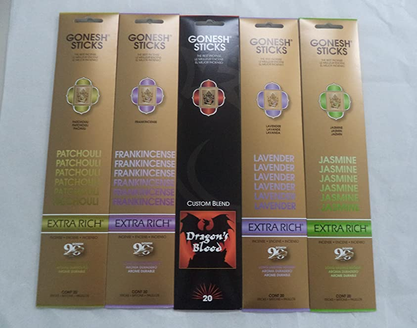 コンデンサーミルウェイトレスGonesh Incense Stick Best SellerコンボVariety Set # 1?5?x 20?= 100?Sticks