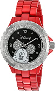 Disney Women's 'Mickey Mouse' Quartz Metal and Alloy Watch, Color:Red (Model: W002894)