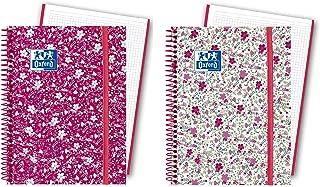Oxford Floral - Pack de 5 cuadernos en espiral, tapa extradura, A6+
