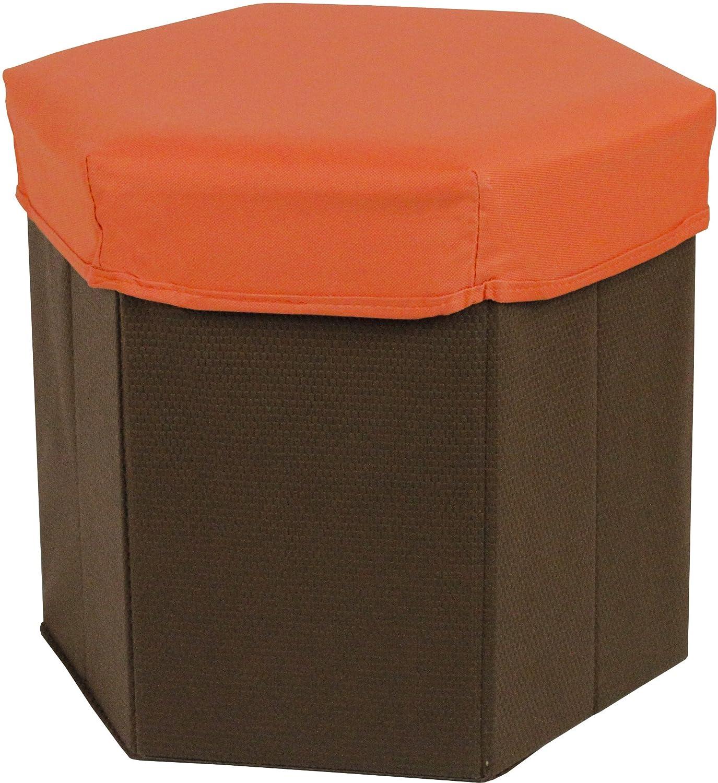 Tadpoles Hexagon Shaped Storage Box Stool, Orange