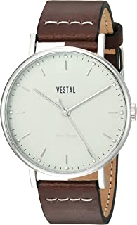 Vestal 'Sophisticate' Swiss Quartz Stainless Steel and Leather Dress Watch, Color:Brown (Model: SP42L06.DBWH)