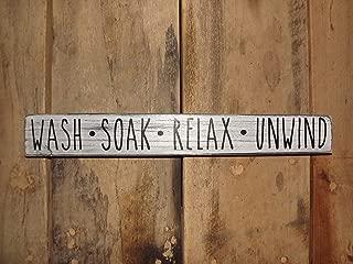 CELYCASY Bathroom Decor-Distressed Decor-Bathroom Wood Sign-wash-Soak-Relax-Unwind Wall Decor-Shelf Decor-Spa Wall Art-Wood Bathroom