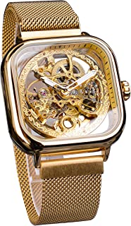 Forsining Fashion Automatic Mechanical Wrist Watch Golden for Men with Stainless Steel Skeleton Transparent Dial with Royal Flower Movement Carving