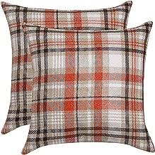 Fotbor Pillow Cases Christmas Decorative Throw Pillows Set of 2 Classic Retro Checkers Plaids Squar Fall Throw Pillow Covers Case for Sofa Room Couch Outdoor Car Decor (Scotland Beige, 18x18)