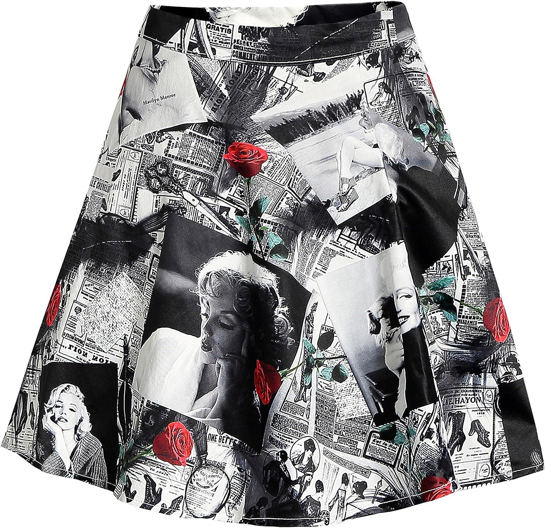 SSLR Women's Hawaiian Skirt Hibiscus Casual Flared A-line Short Skirt
