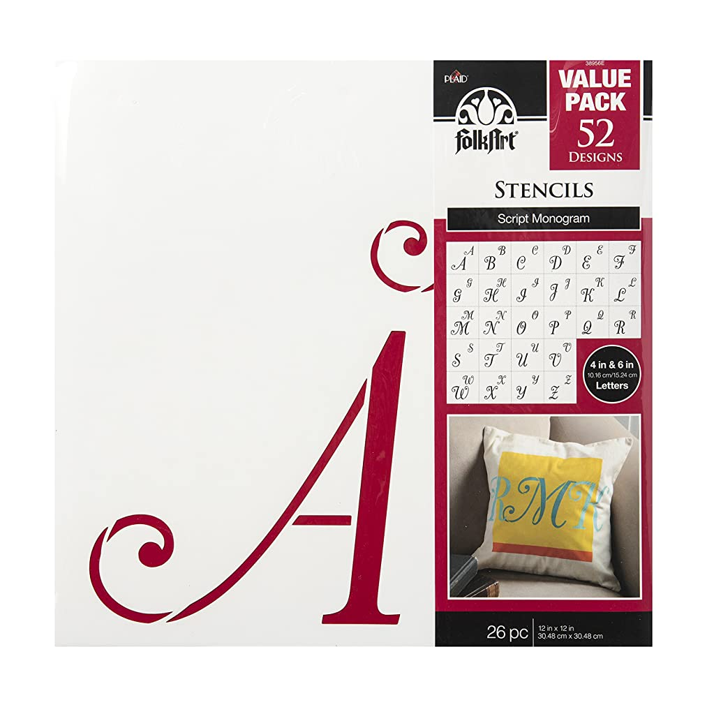 FolkArt Die Cut Paper Stencils, 38956E Script Monogram (26-Pack)