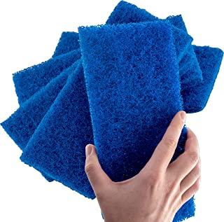 Medium Duty XL Blue Scouring Pad 5 Pack. 10 x 4.5in Large Multipurpose Nylon Scrubbing Sponges. Clean Kitchens, Bathrooms, Counters and Floors to Erase Grime and Make Surfaces Sparkle