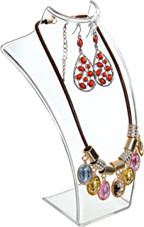 MyGift 8-inch Clear Acrylic Necklace & Earring Jewelry 3D Bust Display Stand