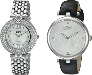 Women's 2 Watch Set 1 Every Day Rose Etched Flower Watch On Leather Band 1 Classy Crystal Watch On Stainless Steel Band - BUR152