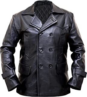 German WWII Black Leather Coats for Men - Leather Pea Coats for Men - Winter Coats