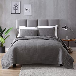 EXQ Home Quilt Set Twin Size Grey 2 Piece,Lightweight Microfiber Coverlet Modern Style Stitched Quilt Pattern Bedspread Set