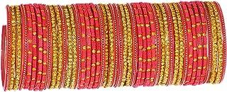 مجموعة 46 اسوارة بانجل حلقية هندية زجاجية للاعراس وازياء بوليوود للنساء والفتيات من جيه ديز كوليكشن