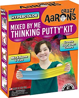 Crazy Aaron's Thinking Putty - Hypercolor Mixed by Me Thinking Putty Kit - Create Your Own Colors, Mix and Name 5 Tins - Never Dries Out