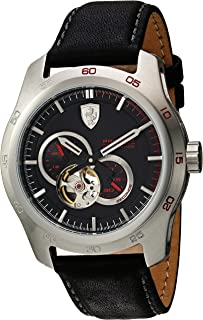 Ferrari Men's 'Primato' Japanese Automatic Stainless Steel and Leather Casual Watch, Color Black (Model: 0830442)