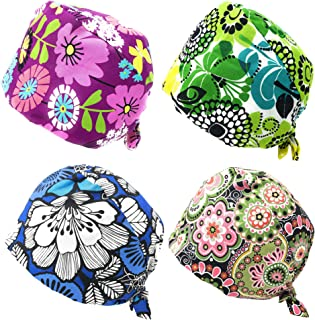 Rusoji 4pc Women Men Adjustable Sweatband Bouffant Scrub Cap Hat, One Size Fits Most