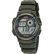 Men's '10-Year Battery' Quartz Resin Watch, Color:Green (Model: AE1000W-3AV)