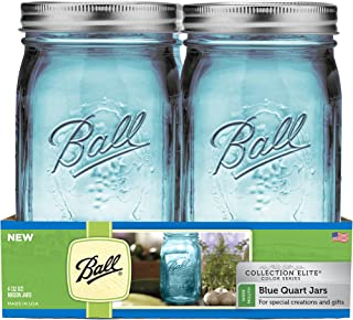 Ball TV205951 Collection Pack, (R) Wide Mouth Canning Jars 4/pkg-Quart-Elite Color Series Blue, WM
