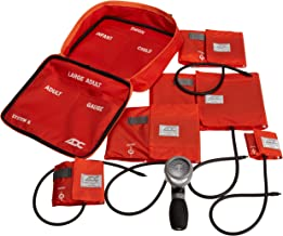 ADC Multikuf 740 5-Cuff EMT Kit with 804 Portable Palm Aneroid Sphygmomanometer, Child, Small Adult, Adult, Large Adult,Black Nylon Zipper Storage Case, Orange