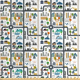 Ambesonne Car Race Track Fabric by The Yard, Graphic Illustration of Cityscape Divided by Roads Nursery Activity, Decorative Fabric for Upholstery and Home Accents, 1 Yard, White Grey
