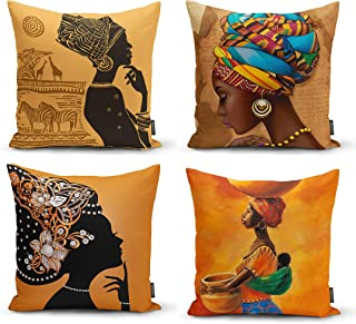 Ysahome Tribal Decor Digital Print Pillow Cover – Black Woman Cushion Cover –..