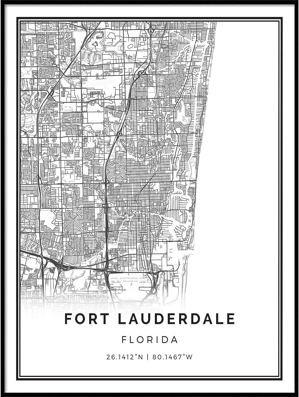 Squareious Fort Lauderdale map Poster Print   Modern Black and White Wall Art   Scandinavian Home Decor   Florida City Prints Artwork   Fine Art Posters 11x14