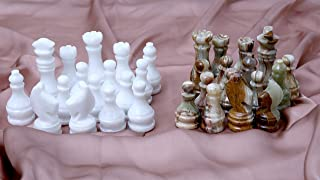RADICALn Marble Big Board Games Complete Chess Figures White and Green Onyx Suitable for 16 - 20 Inches Chess Board - Antique 32 Chess Figures Set - Completely (Green Onyx)