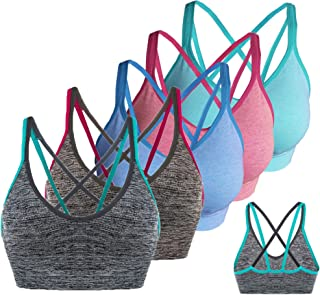 AKAMC 3 Pack Women's Medium Support Cross Back Wirefree Removable Cups Yoga Sport Bra
