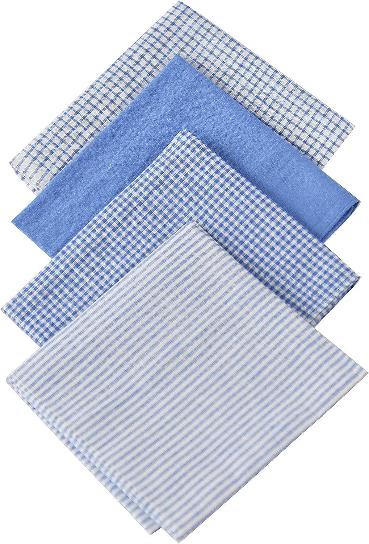 "ARAD 4 Pack Fine Men's Handkerchiefs 100% Soft Cotton with Stitching, Blue Plaid Hankie, Solid Blue, Assorted Colors-16""x16"""