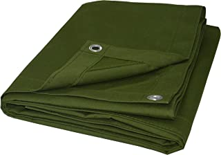 Cartman Olive Drab 10 oz Canvas Tarpaulin 3 Sizes for Option (6' x 8')
