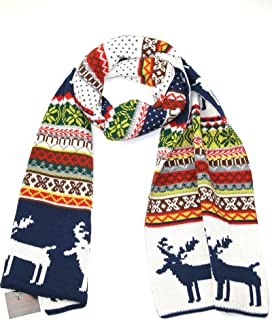 Winter Knitted Scarf for Women and Men- Reindeer Fair Isle Christmas Theme Scarves